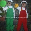 Homemade Fire Mario and Fire Luigi Halloween Costumes
