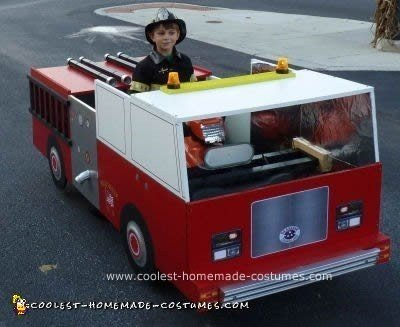 Homemade Fire Truck for Fire Fighter Costume