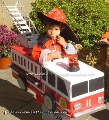 Homemade Fireman and Firetruck Costume