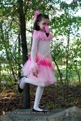 Flamingo Girl's Homemade Halloween Costume Idea
