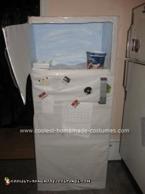 Homemade Frozen Head in Fridge Costume
