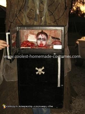 Homemade Frozen Head in Refrigerator Costume