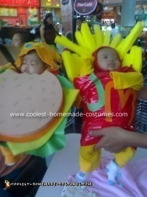 Homemade Hamburger and Fries Costumes for Twins