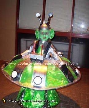 Homemade Alien in a UFO Costume