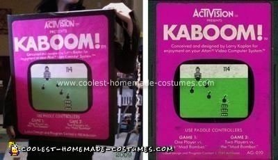 Homemade Atari Cartridge Kaboom Costume