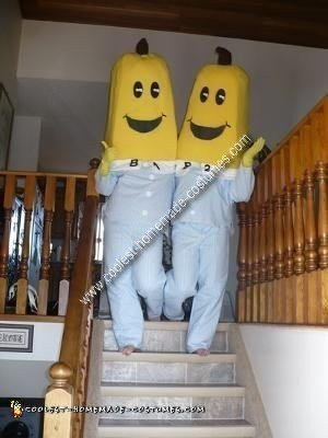 Homemade Bananas in Pajamas Couple Costume