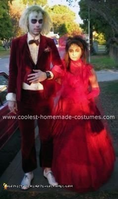 Cool Homemade Beetlejuice And Lydia Couple Costumes