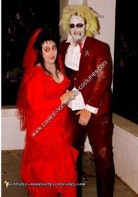 Homemade Beetlejuice and Lydia Halloween Couple Costume Idea