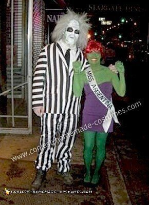 Homemade Beetlejuice and Miss Argentina Couple Costume