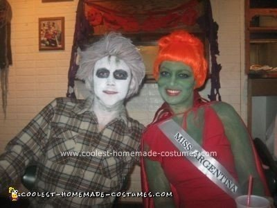 Coolest Homemade Beetlejuice Couple Halloween Costume Idea