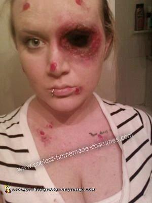 Homemade Bird Attack Costume - after doing makeup