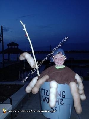 Homemade Bucket of Fishing Worms Costume