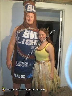 Homemade Bud Light and Golden Wheat Couple Costume