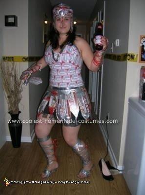 Homemade Budweiser Warrior Halloween Costume