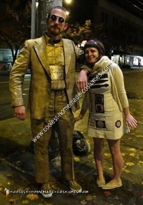 Homemade C3P0 and R2D2 Couple Halloween Costume