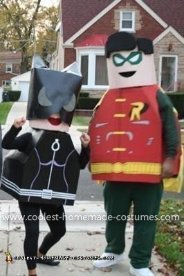 Homemade Cat Woman and Robin Lego Minifig Costumes