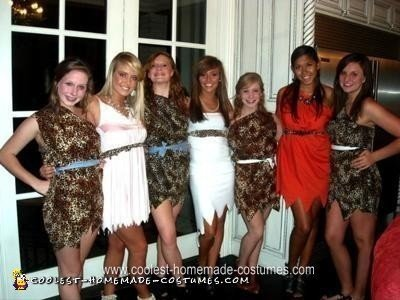 Homemade Cavegirl Group Halloween Costumes