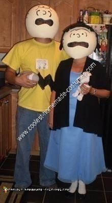 Homemade Charlie Brown and Lucy Couple Halloween Costume