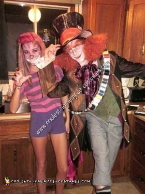 Homemade Cheshire Cat and Mad Hatter Couple Halloween Costume Ideas