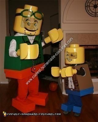 Homemade Clutch and Bernie Lego Men Father and Son Halloween Costumes