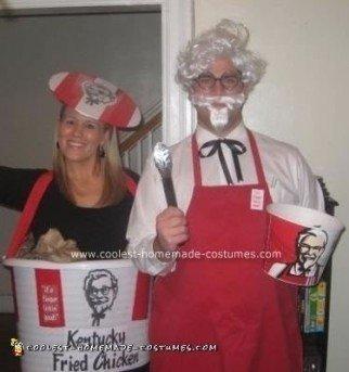 Homemade Colonel Sanders and KFC Chicken Bucket Couple Costume