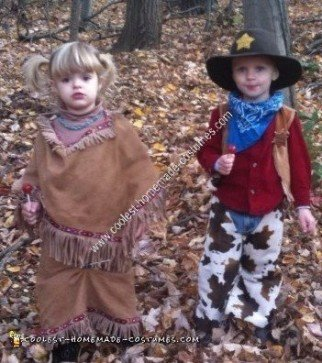 Homemade Cowboys and Natives Halloween Costume