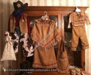 Homemade Cowboys and Natives Halloween Costume