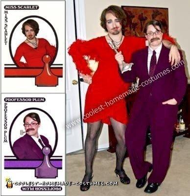 Homemade Cross Dressing Professor Plum and Miss Scarlet Couple Costume