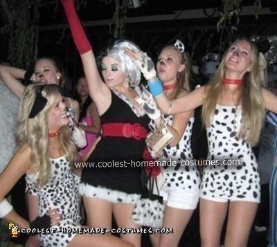 Homemade Cruella Deville and Dalmatians Halloween Costume Ideas