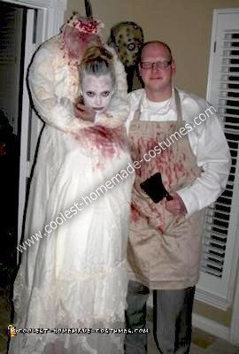 Homemade Decapitated Bride and Butcher Costumes