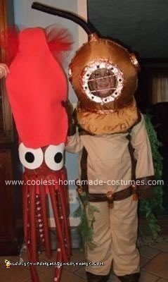 Homemade Deep Sea Diver and Squid Costume