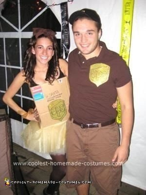 Homemade Delivery Boy and Package Couple Costume