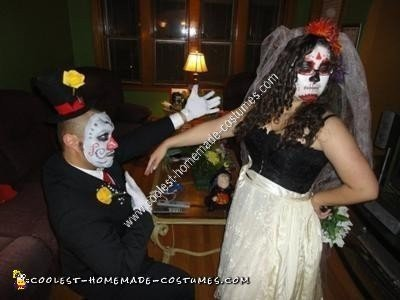 Homemade Dia de los Muertos Bride and Groom Couple Costume