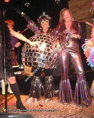 Homemade Disco Ball and Disco Dancer Couple Costume