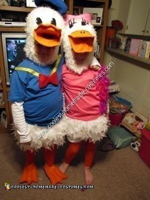 Homemade Donald Duck and Daisy Duck Couple Costume Idea