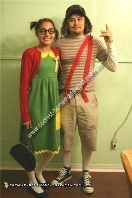 Homemade El Chavo del Ocho and Chilindrina Couple Costume