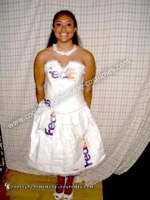 Homemade FedEx Mail Order Bride Costume
