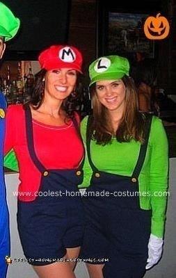 Homemade Female Mario and Luigi Costumes