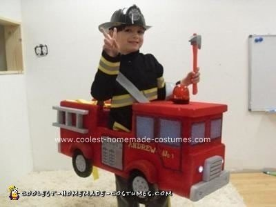 Homemade Fireman and Fire Truck Halloween Costume