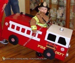 Homemade Fireman and Fire Truck Halloween Costume