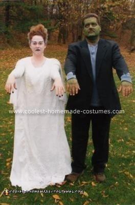 Homemade Frankenstein and Bride of Frankenstein Costumes