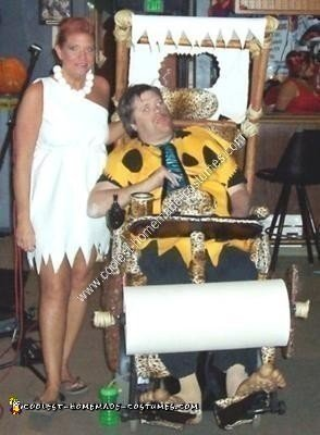 Homemade Fred Flintstone and Flintmobile Wheelchair Costume