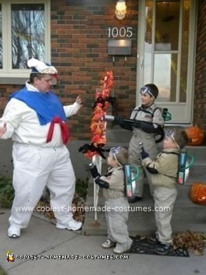 Homemade Ghostbusters and StayPuft Marshmallow Man Costumes