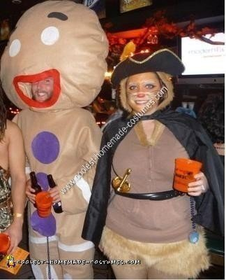 Homemade Gingy and Puss in Boots Couple Halloween Costume