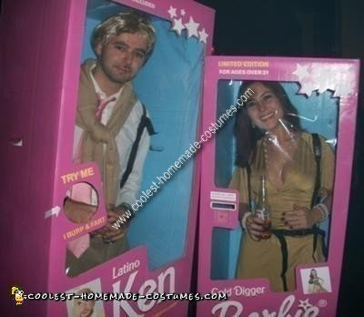 Homemade Gold Digger Barbie and Latino Ken Couple Costume