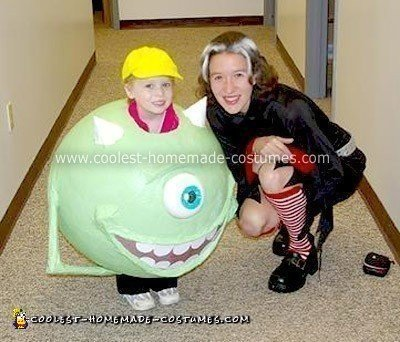 Homemade Green Mike Wazowski Halloween Costume