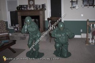 Homemade Green Plastic Soldiers Unique Couple Halloween Costume Idea