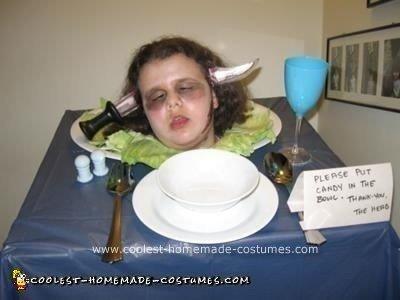 Homemade Head on a Platter Halloween Costume