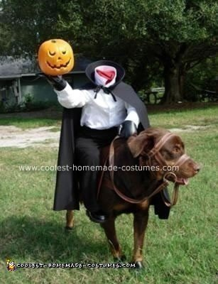 Homemade Headless Horseman Dog Costume