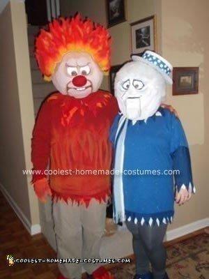 Homemade Heat Miser and Snow Miser Halloween Couple Costume Idea